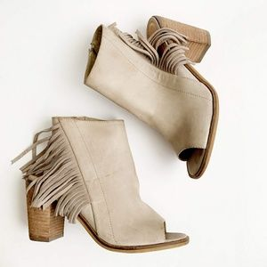 Fringe Open Toe Booties by Very Volatile